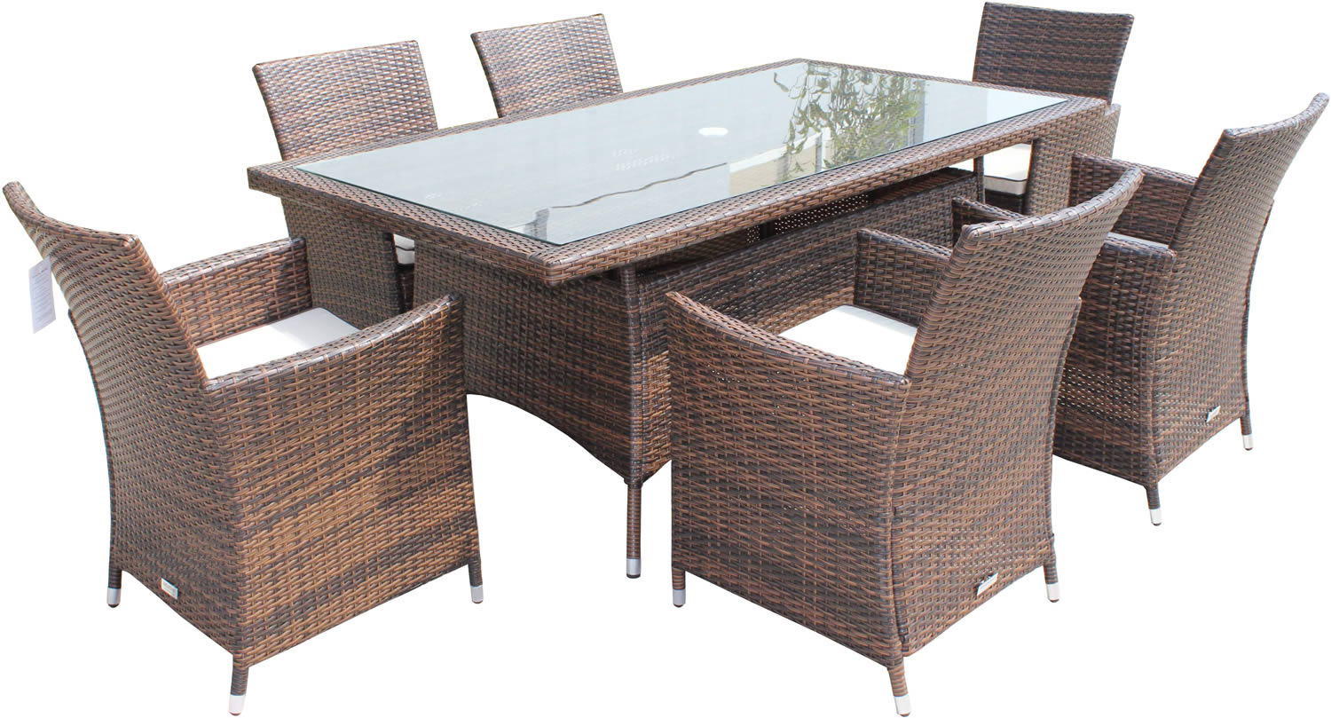 Cambridge 6 chairs and rectangular table set in chocolate for Outdoor wicker furniture