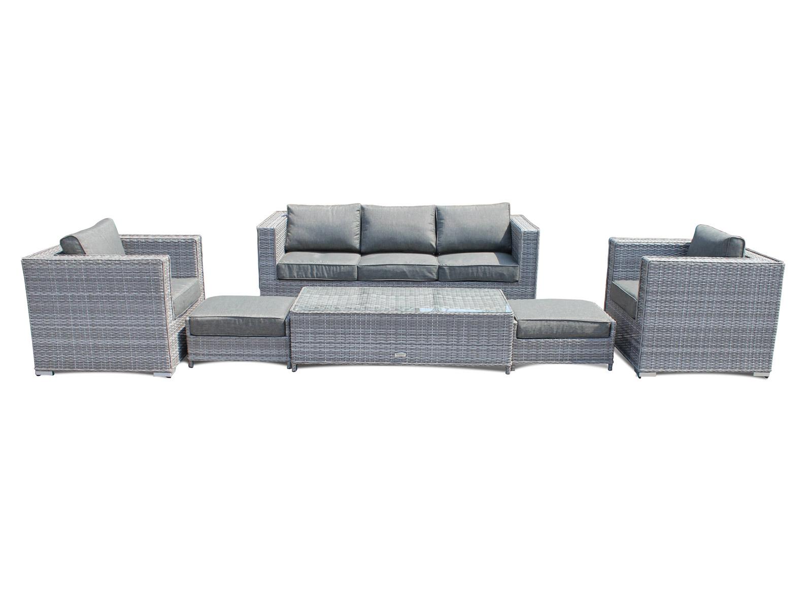 Ascot 3 Seater Sofa Set in Grey Rattan Sofa Sets