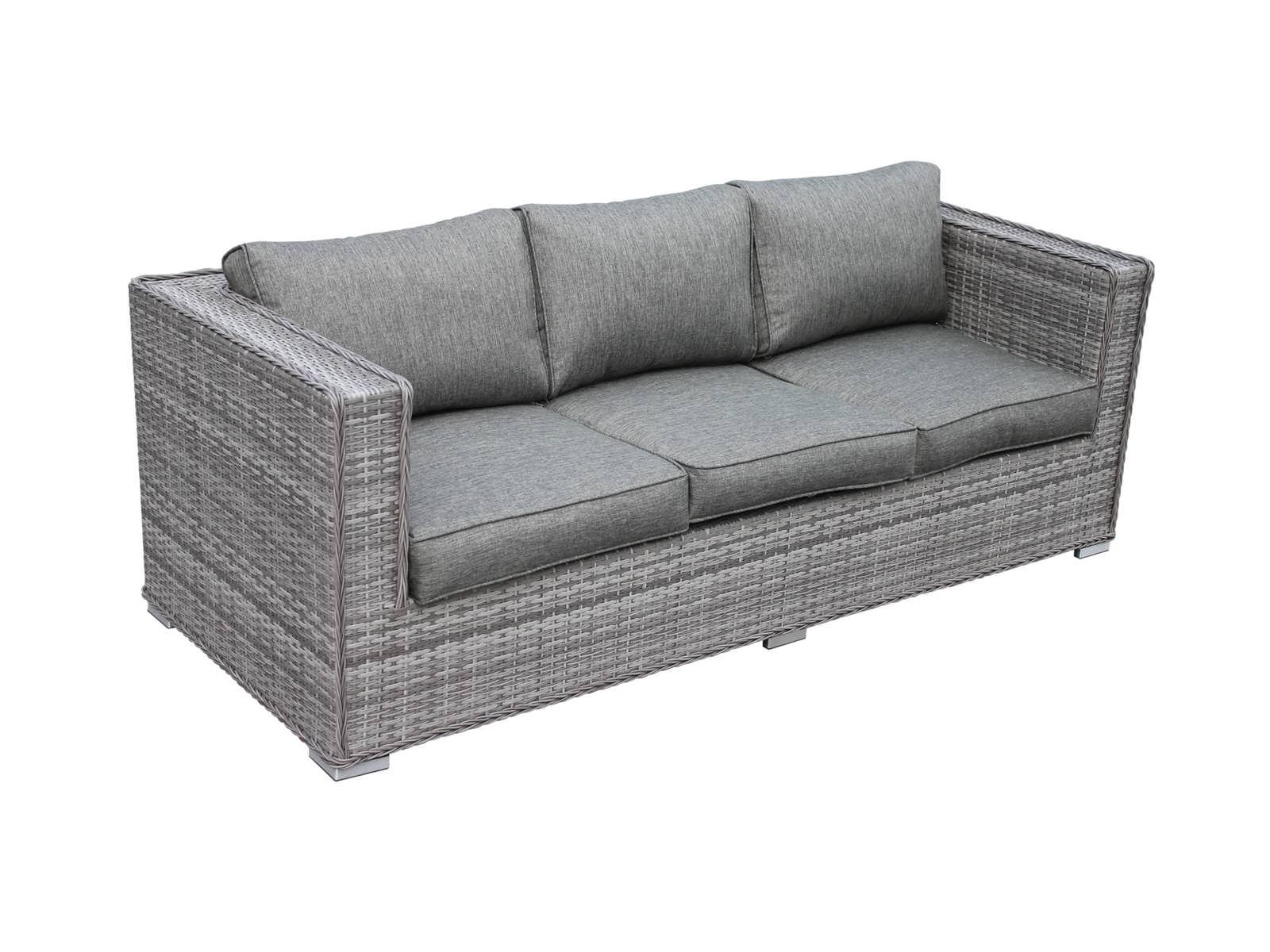 . Ascot 3 Seat Outdoor Rattan Sofa in Grey