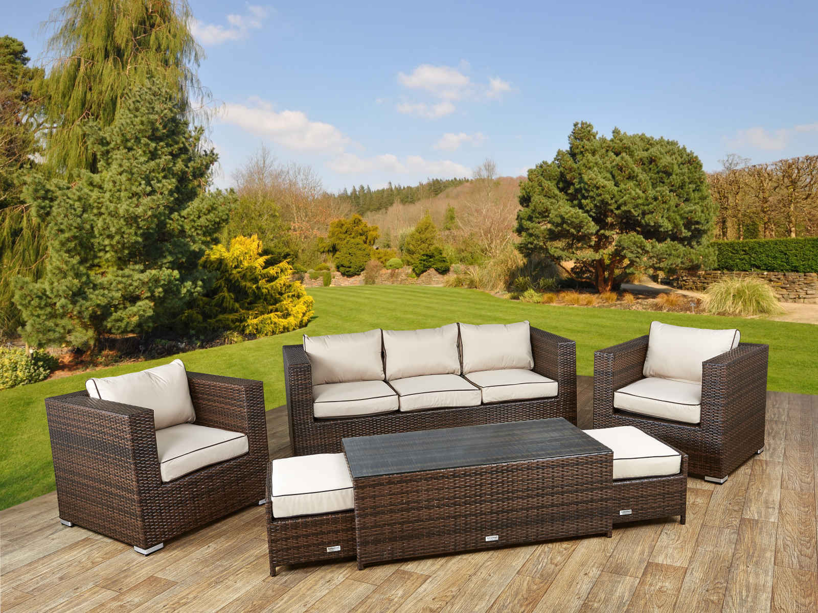 3 seater brown ascot sofa set chocolate cream rattan direct - Garden Furniture Uk Cheap