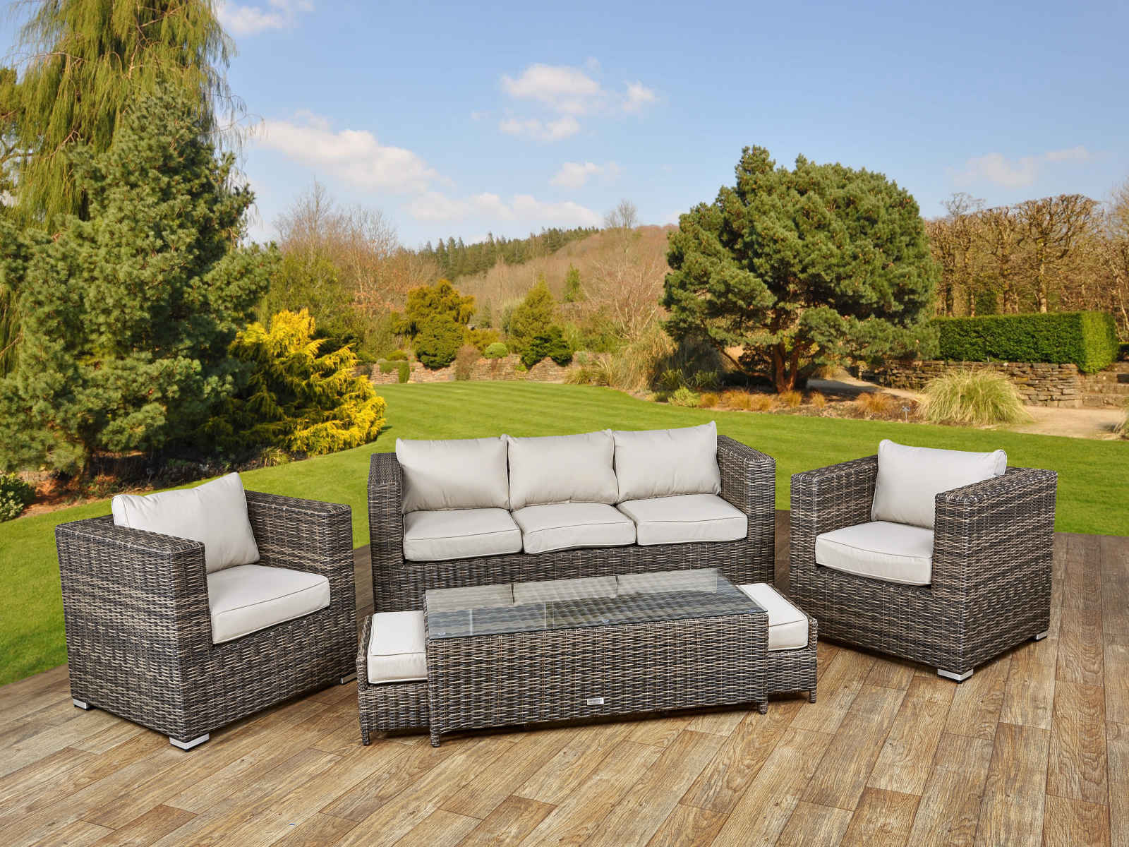 Ascot 3 Seater Sofa Set Truffle and Champagne