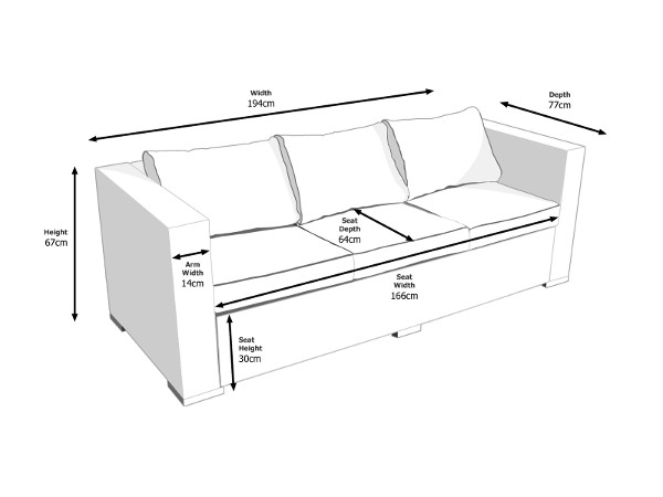 Dimensions of Ascot 3 Seat Sofa