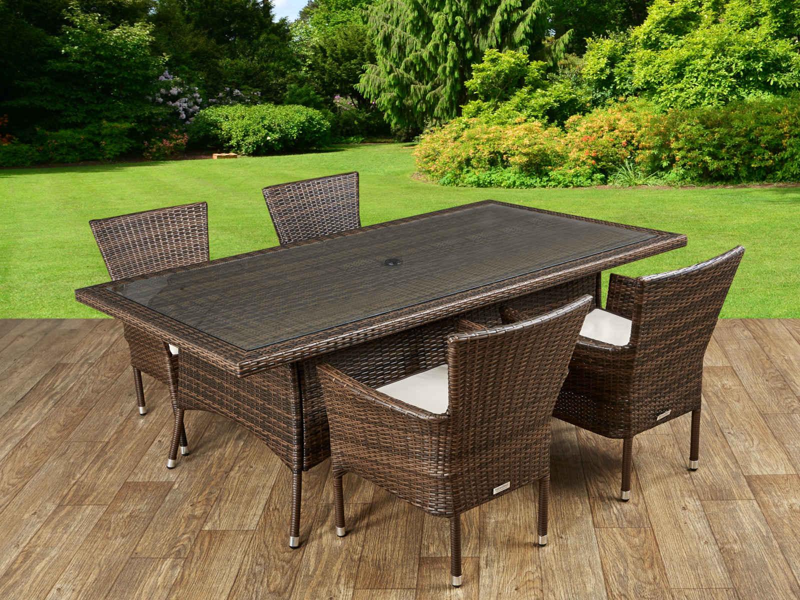 Cambridge 4 Rattan Garden Chairs and Rectangular Table Set in