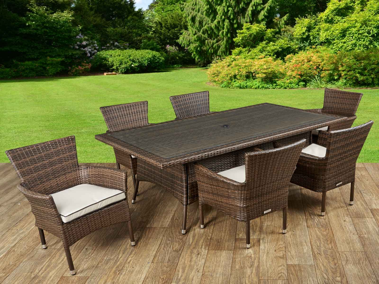 cambridge 6 rattan garden chairs and rectangular table set in chocolate and cream - Garden Furniture 6