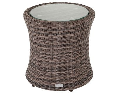 Tall Round Rattan Garden Side Table in Premium Truffle Brown