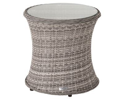 Tall Round Rattan Garden Side Table in Grey