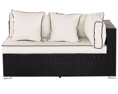 Monaco Left As You Sit Rattan Garden Sofa in Black and Vanilla