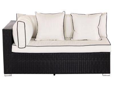 Monaco Rectangular Right As You Sit Rattan Garden Sofa in Black & Vanilla