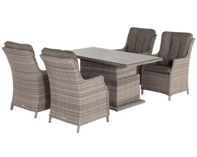 4 Riviera Rattan Garden Dining Chairs and Adjustable Table Set in Grey
