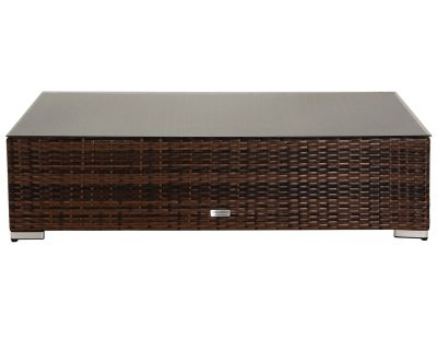 Monaco Rattan Garden Rectangular Ottoman/Coffee Table in Chocolate & Cream