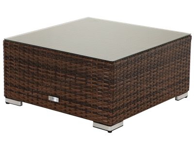 Florida Rattan Garden Ottoman / Coffee Table in Chocolate Mix and Coffee Cream