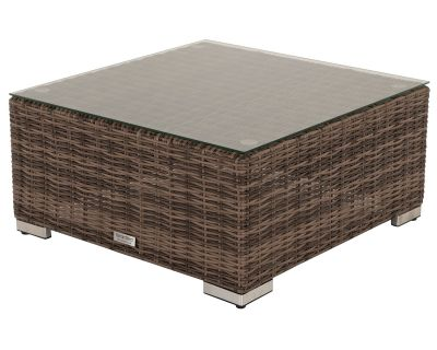 Florida Rattan Garden Ottoman / Coffee Table in Premium Truffle Brown and Champagne