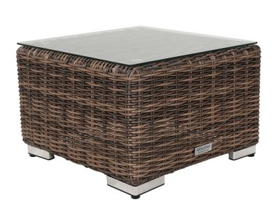 Small Square Rattan Garden Side Table in Premium Truffle Brown