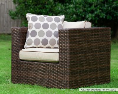 Ascot Rattan Garden Armchair in Chocolate Mix and Coffee Cream