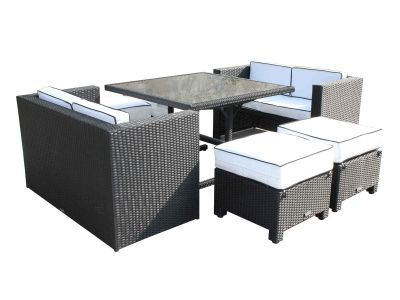 Barcelona Rattan Garden Sofa Cube Set in Black and Vanilla