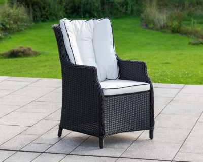 Riviera Rattan Garden Dining Chair in Black and Vanilla