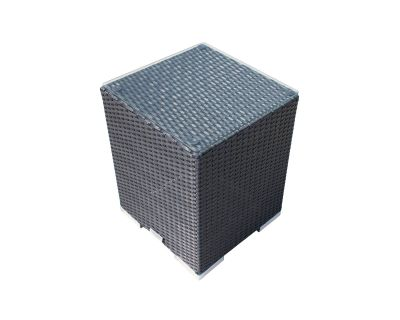 Tall Square Rattan Garden Side Table in Black