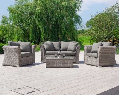 Lisbon 2 Seat Rattan Garden Sofa Set in Grey