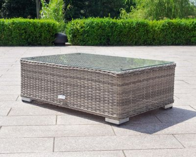 Lisbon Rattan Garden Coffee Table in Grey