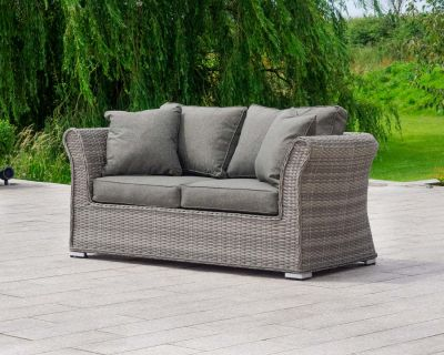 Lisbon 2 Seat Rattan Garden Sofa in Grey