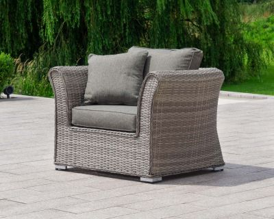 Lisbon Rattan Garden Armchair in Grey