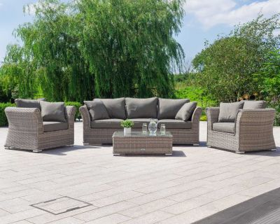 Lisbon 3 Seat Rattan Garden Sofa Set in Grey