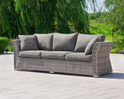Lisbon 3 Seat Rattan Garden Sofa in Grey