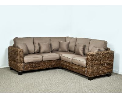 Kensington Abaca 264cm x 264cm Natural Corner Sofa in Autumn Biscuit