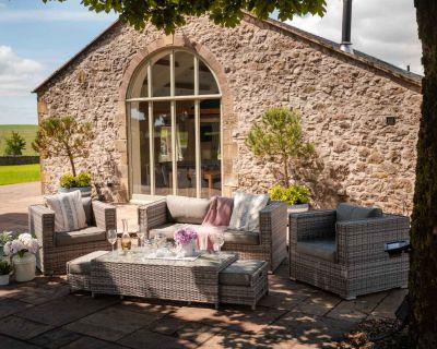 Ascot 2 Seater Rattan Garden Sofa Set in Grey