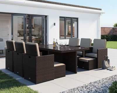 Barcelona 13 Piece Rattan Garden Cube Set in Chocolate Mix and Coffee Cream