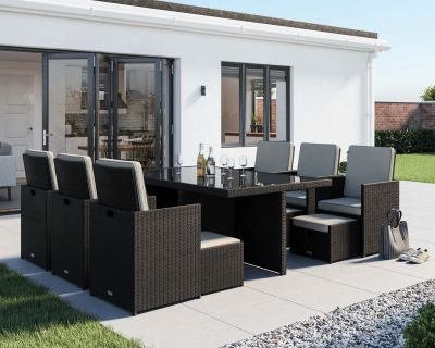 Barcelona 13 Piece Rattan Garden Cube Set in Black and Vanilla