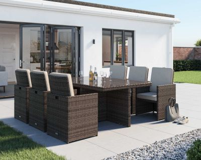 Barcelona 7 Piece Rattan Garden Cube Set in Premium Truffle Brown and Champagne