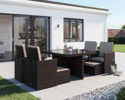 Barcelona 9 Piece Rattan Garden Cube Set in Chocolate Mix and Coffee Cream
