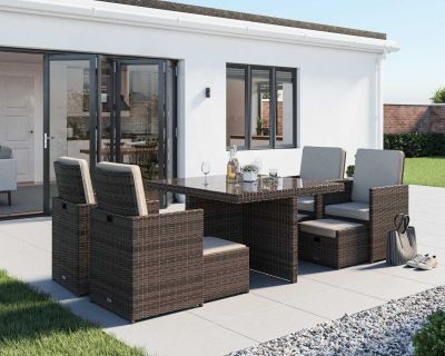 Barcelona 9 Piece Rattan Garden Cube Set in Truffle and Champagne