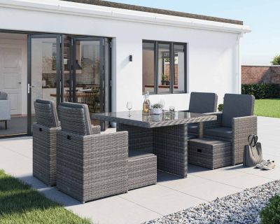 Barcelona 9 Piece Rattan Garden Cube Set in Grey