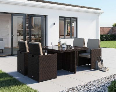 Barcelona 5 Piece Rattan Garden Cube Set in Chocolate Mix and Coffee Cream