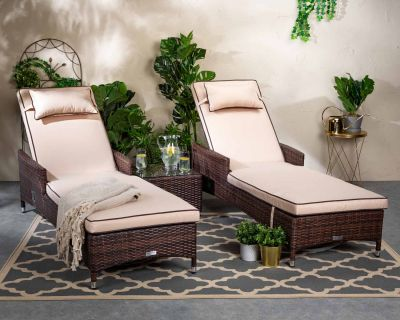 Cambridge Rattan Garden Sun Lounger Set in Chocolate and Cream