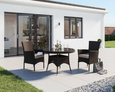 Cambridge 2 Rattan Garden Chairs and Small Round Dining Table Set in Chocolate and Cream
