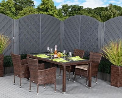 Rectangular Rattan Brown Table With 4 Chairs