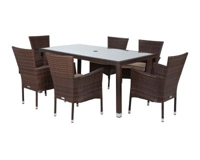Cambridge 6 Stackable Rattan Garden Chairs and Open Leg Rectangular Dining Table Set in Chocolate Mix and Coffee Cream