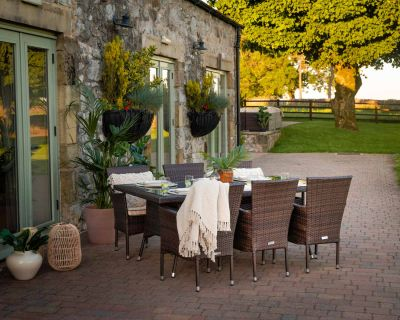 Cambridge 6 Rattan Garden Chairs and Rectangular Table Set in Chocolate and Cream