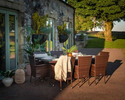 Cambridge 8 Rattan Garden Chairs and Rectangular Table Set in Chocolate and Cream