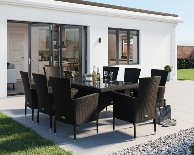 Cambridge 8 Rattan Garden Chairs and Rectangular Dining Table Set in Black and Vanilla