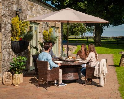 Cambridge 4 Rattan Garden Chairs and Large Round Dining Table Set in Chocolate and Cream