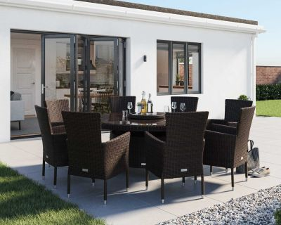 Cambridge 8 Rattan Garden Chairs and Large Round Round Dining Table Set in Chocolate and Cream