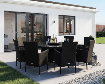 Cambridge 8 Rattan Garden Chairs and Large Round Dining Table Set in Black and Vanilla