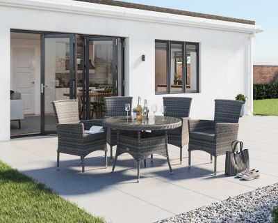 Cambridge 4 Rattan Chairs and Small Round Table Set in Grey