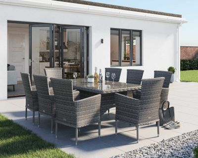 Cambridge 8 Rattan Chairs and Rectangular Table Set in Grey