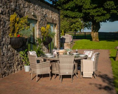 Cambridge 6 Rattan Chairs and Large Round Dining Table Set in Grey