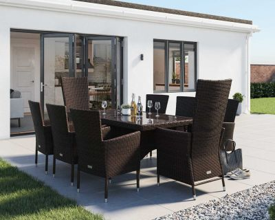 Cambridge 2 Reclining + 6 Non-Reclining Rattan Garden Chairs and Rectangular Dining Table Set in Chocolate and Cream